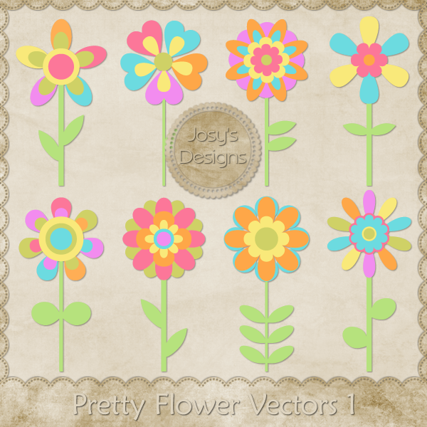 Pretty Flower Layered Vector Templates by Josy