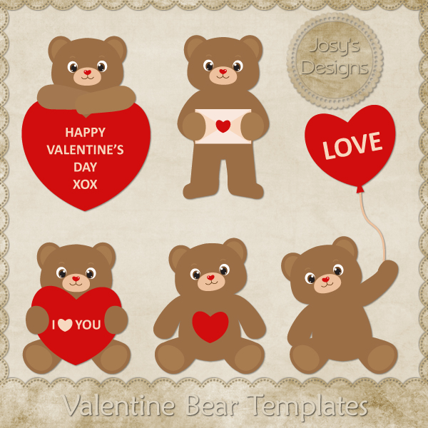 Valentine Love Bear Layered Templates 1 by Josy