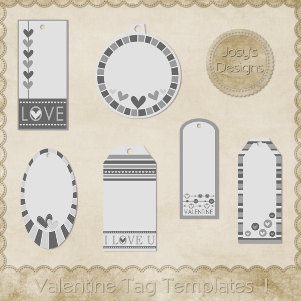 Valentine Tag Layered Templates 1 by Josy