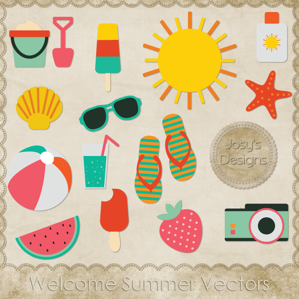 Welcome Summer Layered Vector Templates by Josy