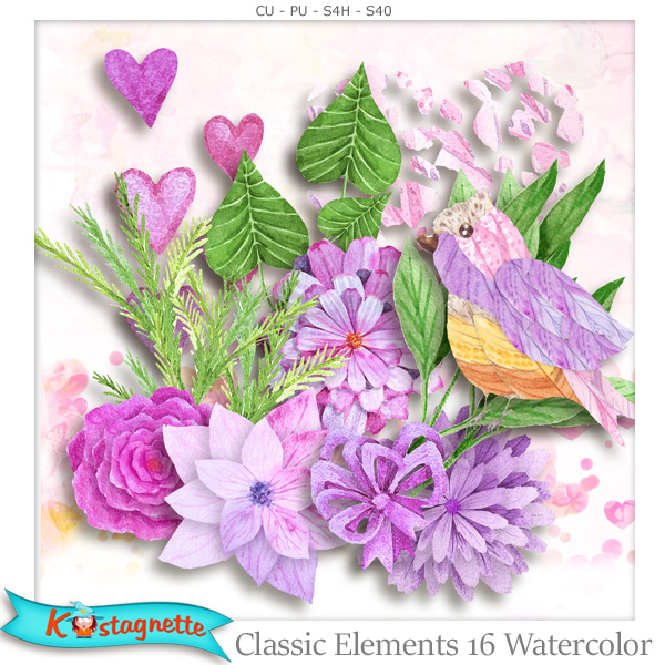 Classic Elements 16 Watercolor by Kastagnette
