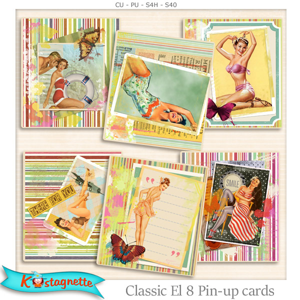 Classic Elements 8 Pin Up Cards by kastagnette