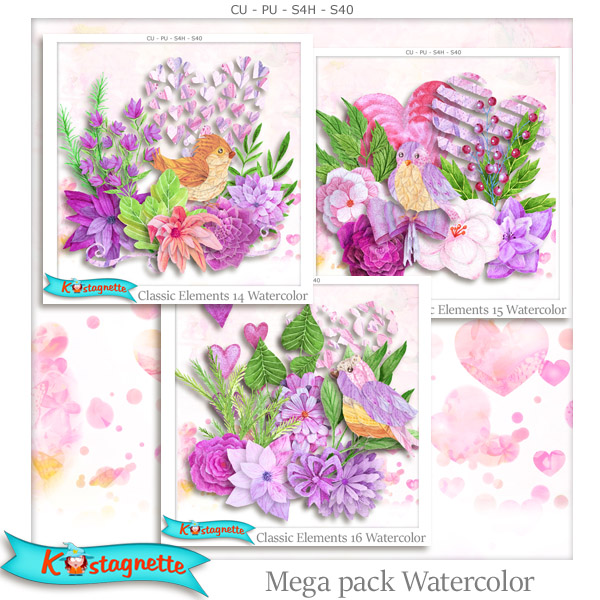 Mega Pack Watercolor by kastagnette
