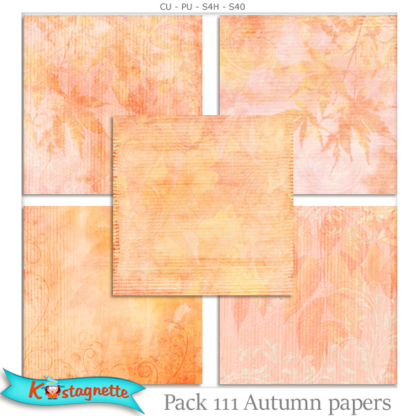 Pack 111 autumn papers by kastagnette