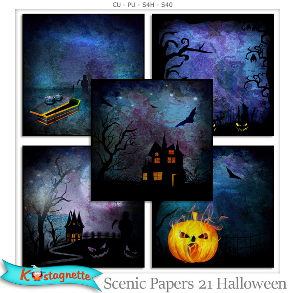 Scenic Papers 21 Halloween by Kastagnette