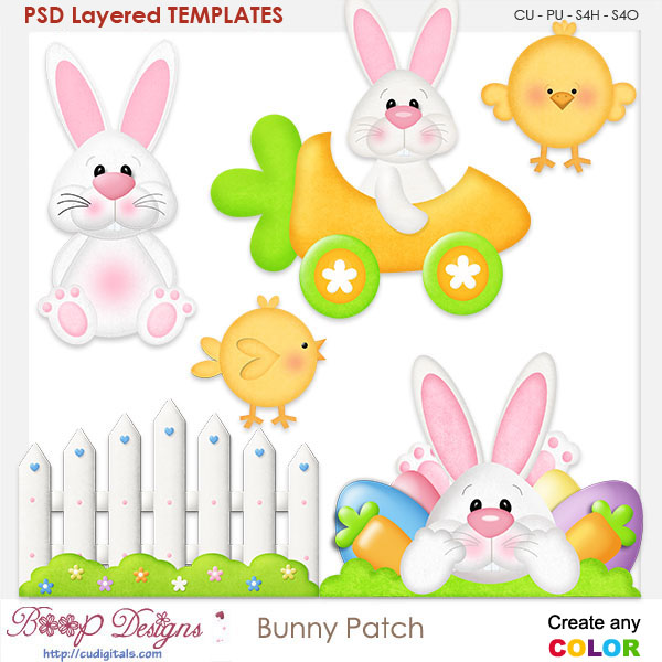 Spring Bunny Patch Layered Templates