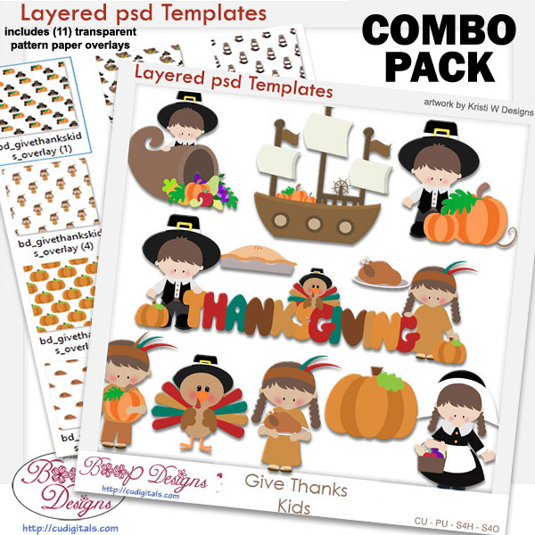 Give Thanks Kids Layered Template COMBO Pack Give Thanks Kids ...