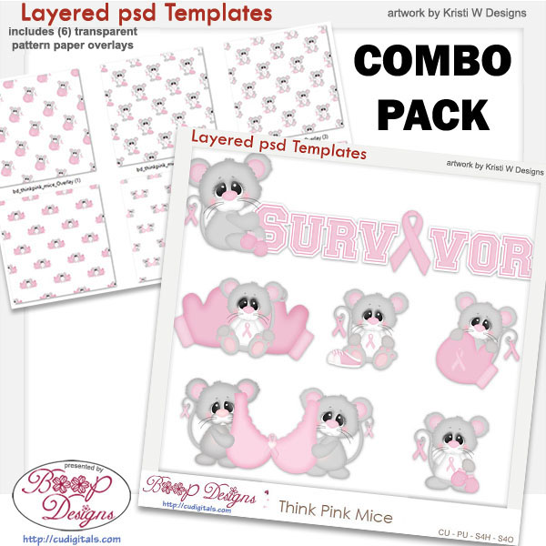 Think Pink Mice Layered Element Templates COMBO