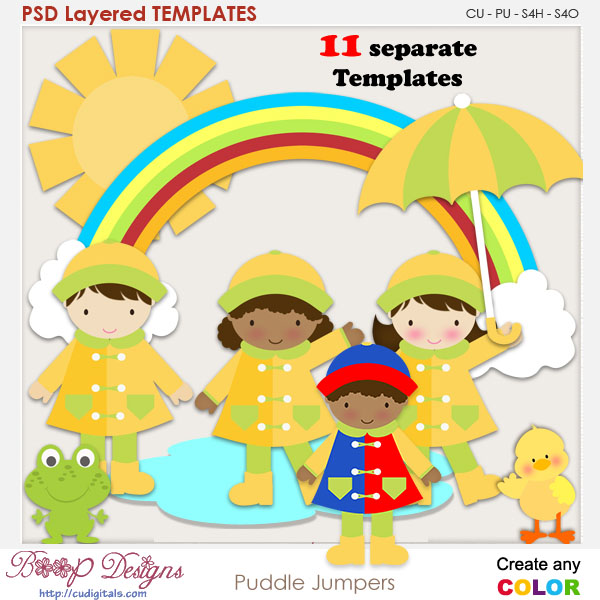 Rainy Day Puddle Jumpers Layered Element Templates