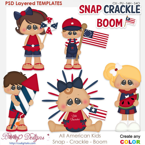 American Kids - Snap - Crackle - Boom Layered Element Templates