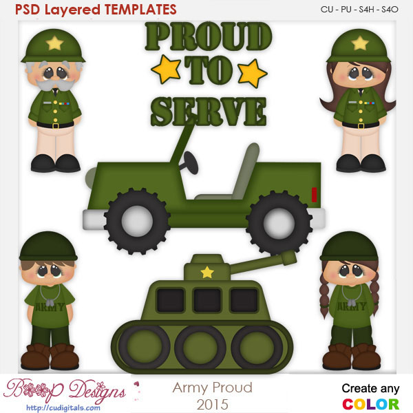 Army Proud Layered Element Templates