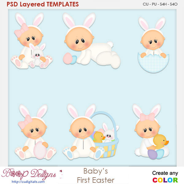 Baby's First Easter Layered Element Templates