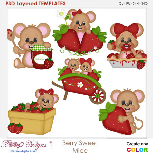 Berry Sweet Mice Layered Element Templates