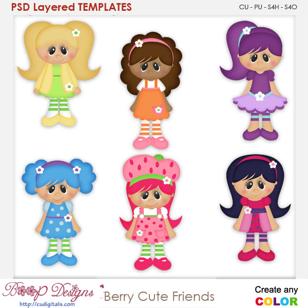 Berry Cute Friends Layered Element Templates