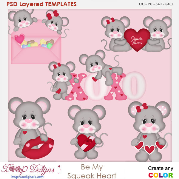 Be My Squeak Heart Layered Element Templates