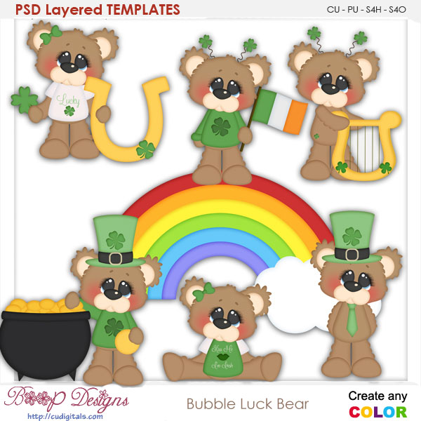 Bubbles Lucky Bear Layered TEMPLATES