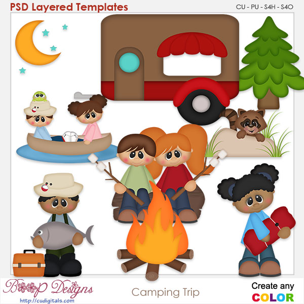 Camping Trip Layered Element Templates