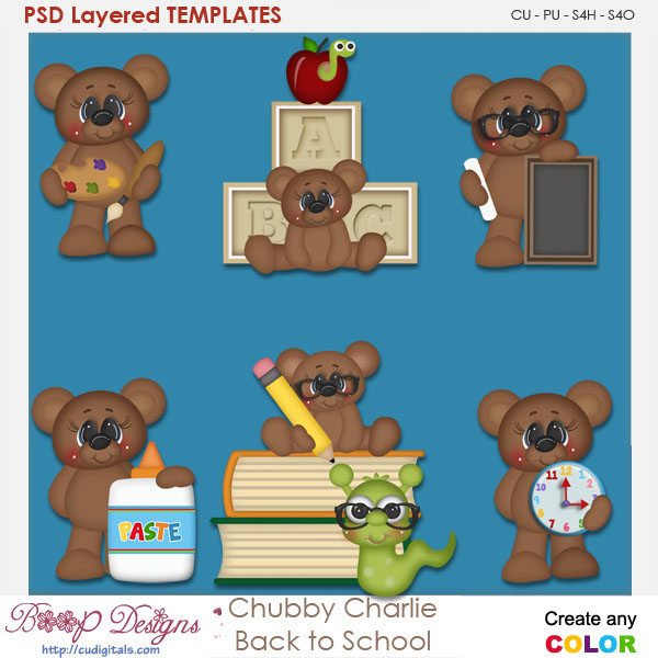 Chubby Charlie Back To School Layered Element Templates