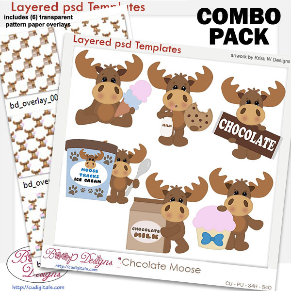 Chocolate Candy Moose Layered Template COMBO Set