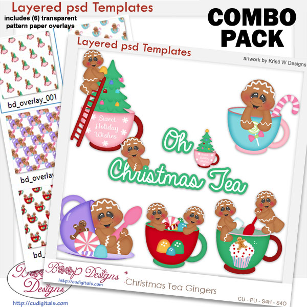 Christmas Tea Gingers Layered Template COMBO Set
