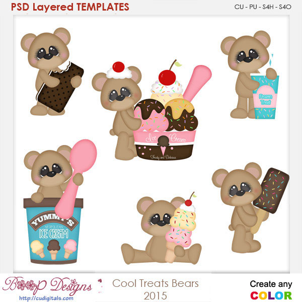 Cool Treats Bears Layered Element Templates
