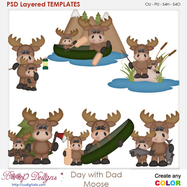 Day With Dad Moose Layered Element Templates