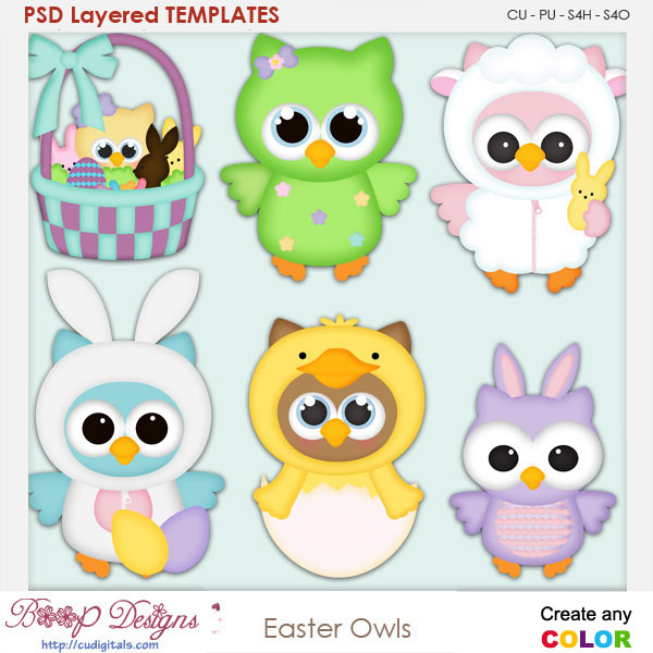 Easter Owls Layered Element Templates