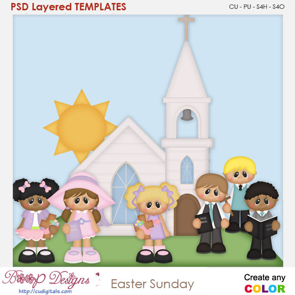 Easter Sunday Layered Element Templates