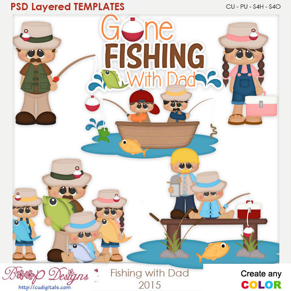 Fishing With Dad Layered Element Templates