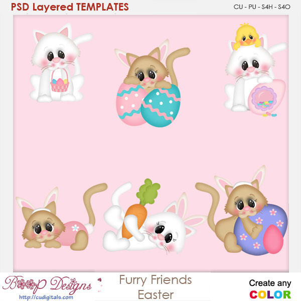 Furry Friends Easter Layered Element Templates