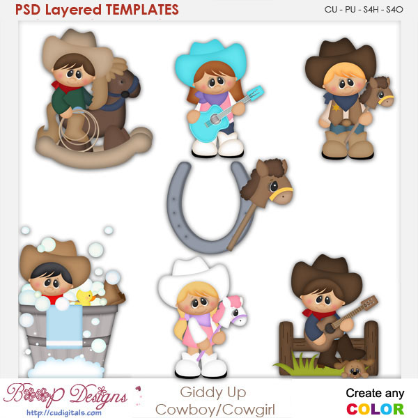 Giddy Up Cowboy & Cowgirl Layered Element Templates