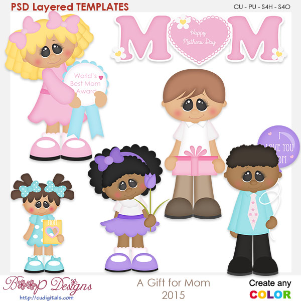 Gift for Mom Layered Element Templates