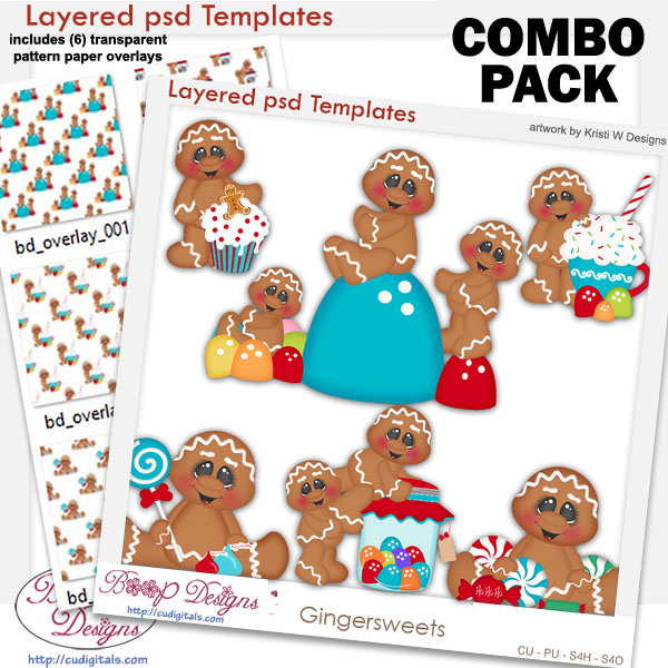 Ginger Sweets Party Layered Template COMBO Set