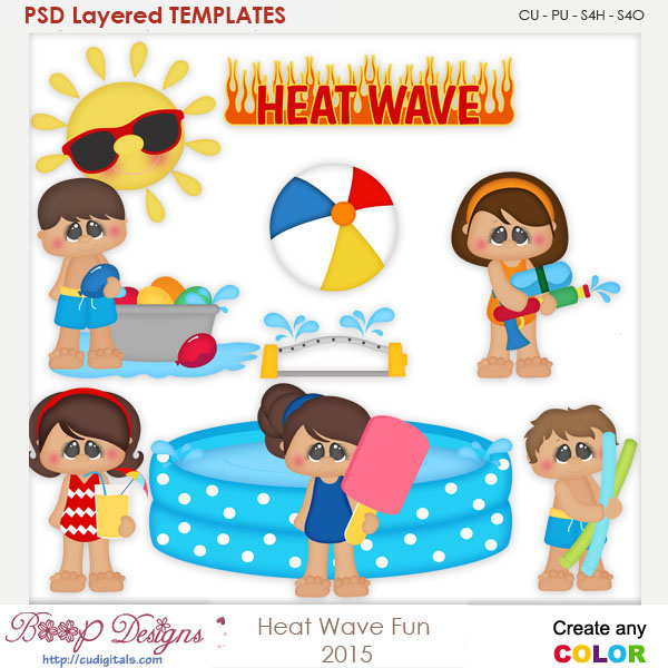 Heat Wave Fun Layered Element Templates