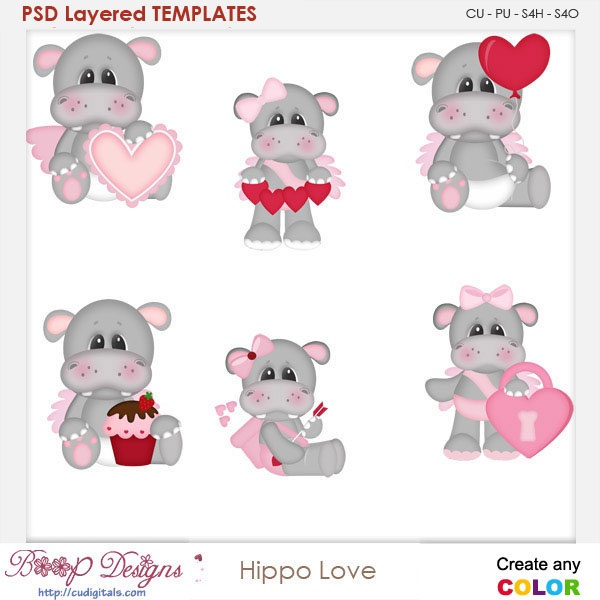 Hippo Love Layered Element Templates