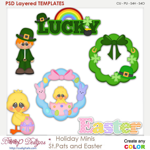 Holiday Spring Mini's St. Pats and Easter Layered Element Templates