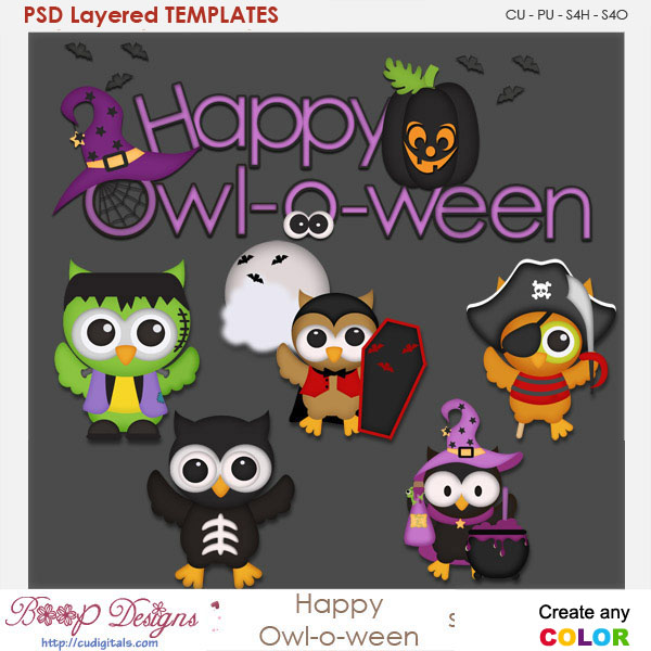 Happy Owl Halloween Element Templates