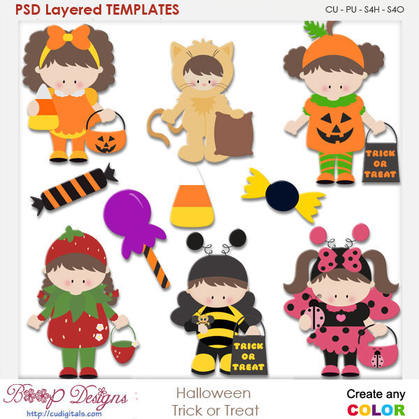 Halloween Trick or Treat Costumes Layered Element Templates