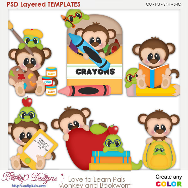 Love to Learn Pals Monkey & Bookworm Layered Element Templates