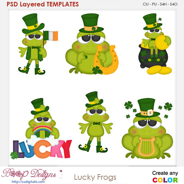 Lucky Irish Frogs Layered Element Templates