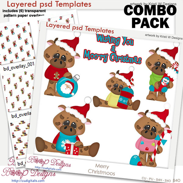 Merry Christmas Moo's Layered Template COMBO Set