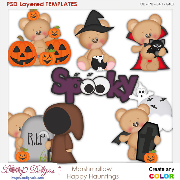 Marshmallow Bear Happy Hauntings Element Templates
