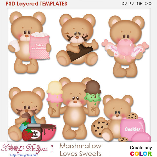 Marshmallow Loves Sweets Layered Element Templates