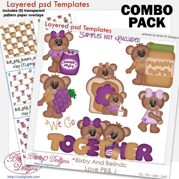 Bixby and Belinda Bears Love PB&J Template COMBO Set