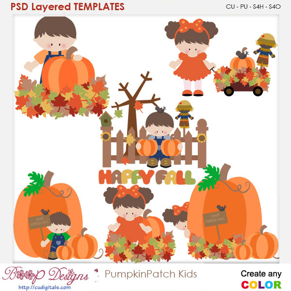 Pumpkin Patch Kids Layered Element Templates