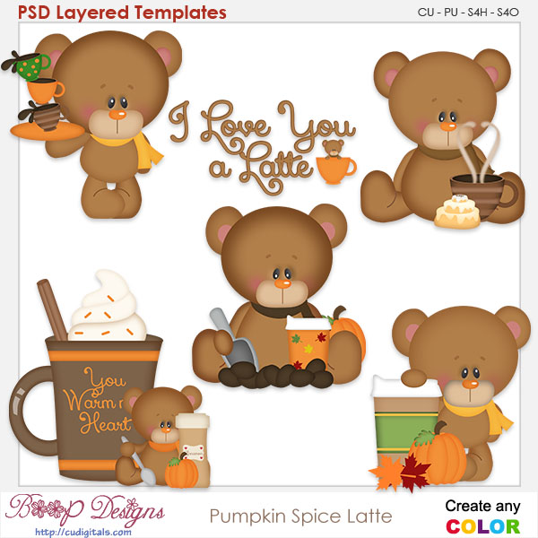 Pumpkin Spice Bear Latte- Element Templates