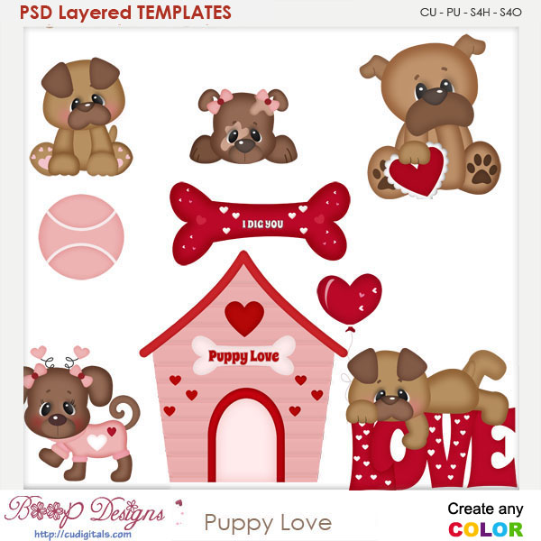 Puppy Love Layered Element Templates