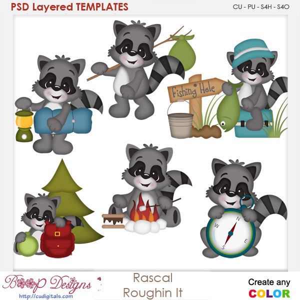 Rascal Roughin It Camping Layered Element Templates