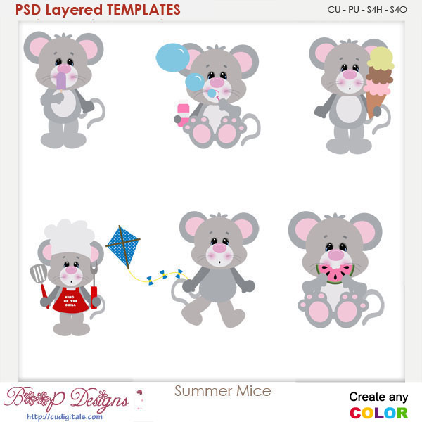 Summer Mice Layered Element Templates