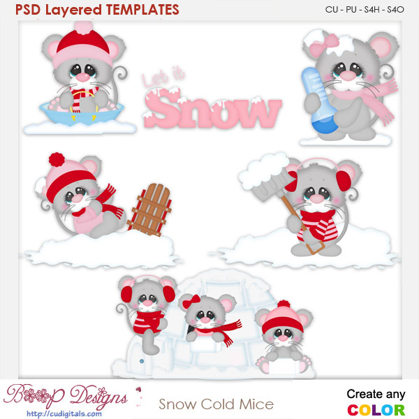 Snow Cold Mice Layered Element Templates